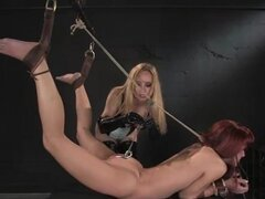 Aiden Starr juega con el coño de AnnaBelle Lee en BDSM video