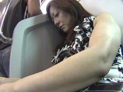 Mujer madura japonesa siendo mimada en el viaje en tren