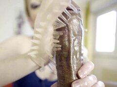 Candy de mayo - da BBC masturbación con la mano un guante de látex