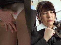 Yurara Sasamoto sexy alegre permite a los chicos a tocar su coño - Yurara Sasamoto