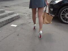 Hot legs in shiny stockings