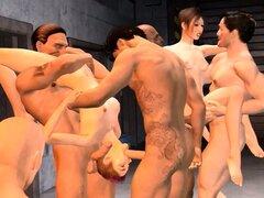 Los amantes del 3D insaciables reunirse para algún sexo en grupo intenso