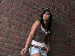 Chica fácil obtiene gang follada