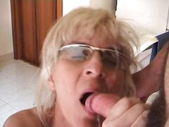 Mature blonde bounces on this hard dick