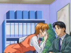 Secretario de anime obtiene coño burlas. Secretario de anime obtiene coño mojado ridiculizado por su jefe