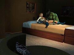 Hulk y Power Girl. Hulk y Power Girl