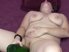 Plump MILF Alexsis Sweet stuffs her twat with a bottle. Chubby blonde housewife Alexsis Sweet is using a big bottle to fuck her plump pussy