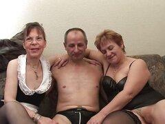 Two grandmas share a hard cock