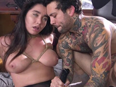 Maid in fishnets gets rough fucked. Maid Karlee Grey in fishnets caught stealing from her boss Small Hands and then in brutal bondage he rough fucked her hairy pussy and deep throat