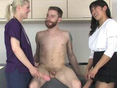 Teenies pound fellows anal hole with big strapons and s