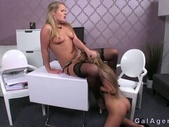 Hairy pussy female agent gets licked on casting. Brown haired amateur on her casting gets stripped off and pussy licked on a desk by female agent then she licks her hairy pussy until gets orgasm