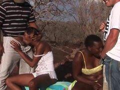 Trío orgía de sexo africano safari