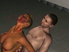 Sabroso 3D Zombie Cartoon nena consiguiendo follada duro. Boner inducir pelo corto zombi de dibujos animados en 3D Vixen tomando una polla dura profundamente en su coño