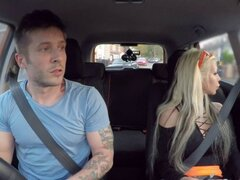 Dude gets blowjob in driving school. Dude has driving test with hot blonde examiner with stunning body and huge tits and then in hidden public place she sucks and fucks his hard cock