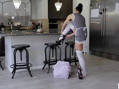 Quinton James breaks out his big broom stick prick for. Eva Long runs the best cleaning service in the world. She shows up with her fat tits squeezed together in an extra tight French maid costume. She could also suck some dick. Quinton  breaks out his big broom stick prick, and shoves it into her mouth, tryin