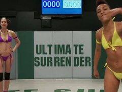 Chica delgada y musculosa lucha contra dos muchachas y obtiene jugó - Lyla Storm, Nikki Darling