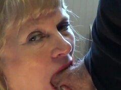 Mature blonde blowjob. Mature gives a deep-throat blowjob.