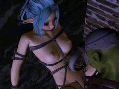 Atado chica elfo 3D consigue follada por un duende. Boca de riego 3D dibujos animados azules pelo elfo hottie conseguir su coño mojado follada al aire libre por un duende