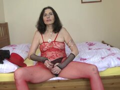 Granny in fishnet clothes shows how she pleases her own needs - Darlena