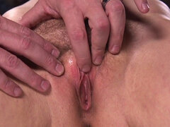 Bent over in bondage slave vibed. Hairy pussy brunette slave Cherry Tornin bent over wooden post gets her nipples clamped and tortured then her ass spanked and pussy fucked and vibed in dungeon