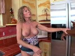 Experienced curly-haired chick banged by the black guy in the kitchen - Jade Jamison