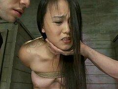 Cachonda jovencita Asiatica chupa pollas y es follada como loca en video BDSM