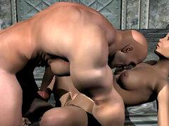 Hermosa porno 3D con tipo musculoso