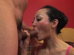 Ange Venus taut arse pounded hard. Oriental mama with round fake breasts Ange Venus taking large meat in constricted booty